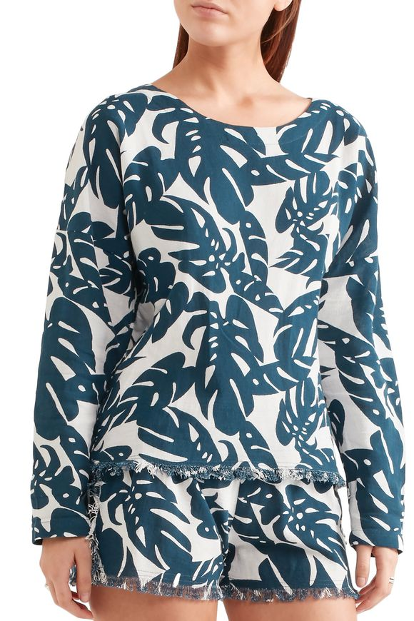 Australia frayed printed cotton coverup | MIKOH | Sale up to 70% off | THE  OUTNET