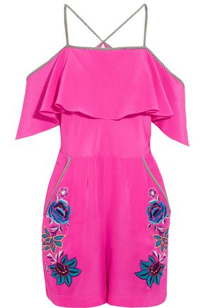 MATTHEW WILLIAMSON ESCAPE Sakura Floral embroidered silk playsuit