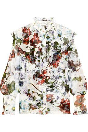 ERDEM Kelsey ruffled floral-print silk-voile blouse