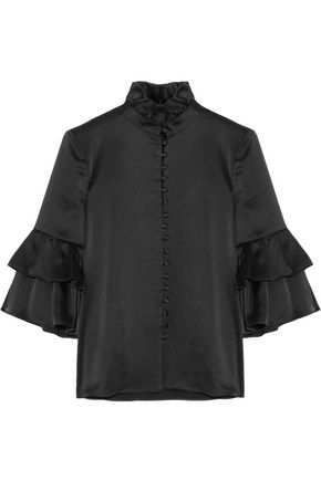 CO Ruffle-trimmed satin blouse