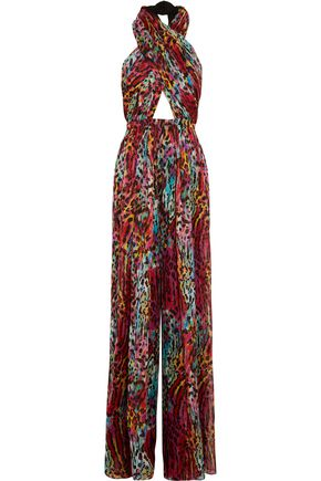 MATTHEW WILLIAMSON Akita printed silk-chiffon halterneck jumpsuit
