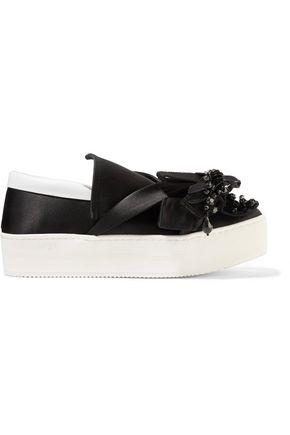 N° 21 Embellished leather-trimmed satin slip-on sneakers