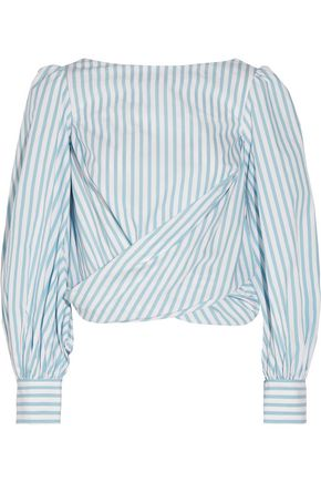 JOHANNA ORTIZ Bahia open-back striped cotton-poplin wrap top