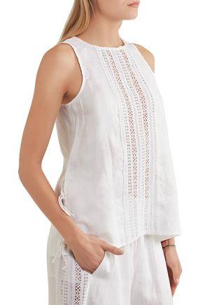 ... MIGUELINA Margaret crochet-trimmed linen top ...