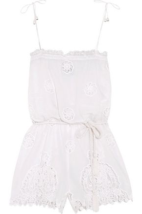 MIGUELINA Peggy cotton and lace playsuit