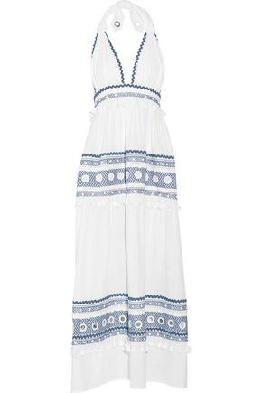 DODO BAR OR Embellished embroidered cotton-gauze halterneck maxi dress