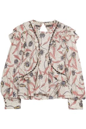 ISABEL MARANT Uster studded lace-trimmed printed cotton blouse