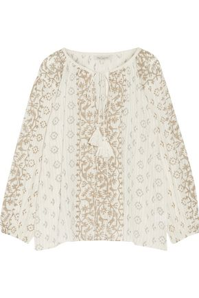MES DEMOISELLES Jarod printed cotton-gauze blouse