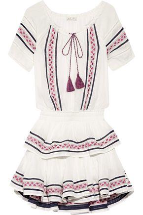 LOVESHACKFANCY Poppy embroidered cotton-voile mini dress