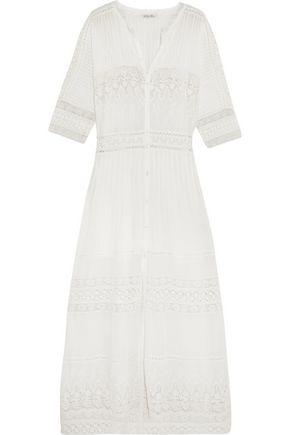 LOVESHACKFANCY Beth crocheted lace-paneled cotton maxi dress