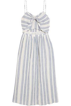 LOVESHACKFANCY Jenna striped cutout cotton-blend dress