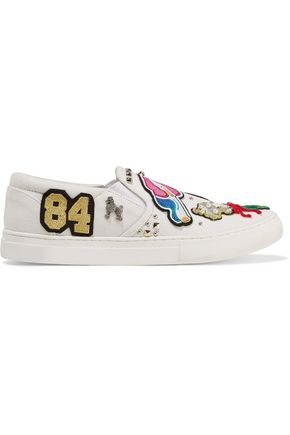 MARC JACOBS Mercer embellished appliquéd canvas slip-on sneakers
