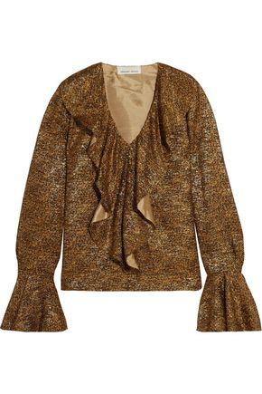 MERCHANT ARCHIVE Ruffled metallic fil coupé blouse