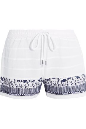 MICHAEL MICHAEL KORS Embellished embroidered cotton shorts