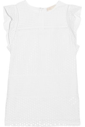 MICHAEL MICHAEL KORS Ruffle-trimmed broderie anglaise cotton top
