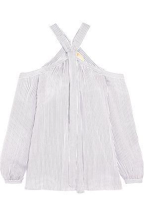 MICHAEL MICHAEL KORS Cold-shoulder striped silk crepe de chine blouse
