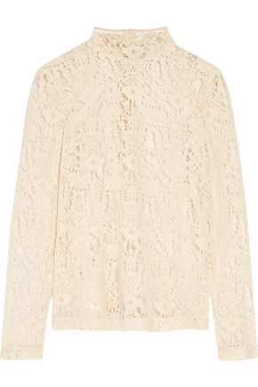 DKNY Flocked lace top