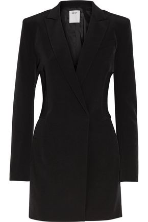 DKNY Ribbed-knit paneled stretch-crepe playsuit