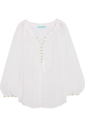 MELISSA ODABASH Lace-up embroidered voile coveurp