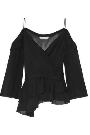 RACHEL ZOE Renee off-the-shoulder silk-georgette top
