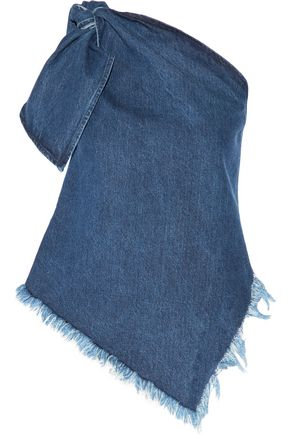 MARQUES ' ALMEIDA One-shoulder asymmetric frayed denim top