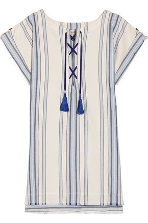 LEMLEM Halima striped cotton and linen-blend mini dress