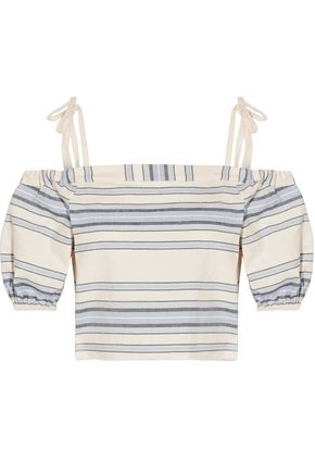 LEMLEM Halima off-the-shoulder striped cotton and linen-blend top