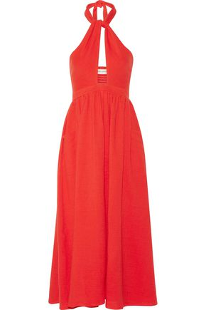 MARA HOFFMAN Cutout cotton-gauze halterneck midi dress