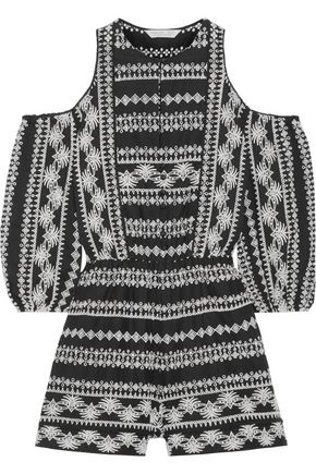 RACHEL ZOE Tory cold-shoulder broderie cotton anglaise playsuit