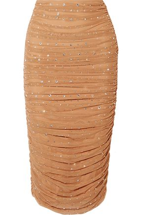 NORMA KAMALI Ruched crystal-embellished stretch-tulle skirt