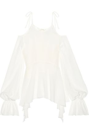 GOEN.J Cold-shoulder asymmetric ruffle-trimmed silk-chiffon top