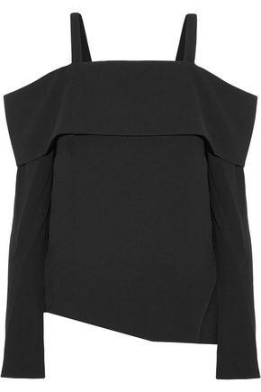 TIBI Cold-shoulder layered crepe top