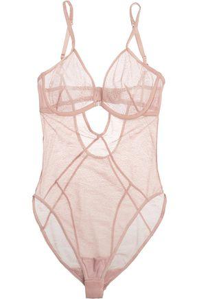 ELLE MACPHERSON BODY Skin cutout stretch-lace bodysuit