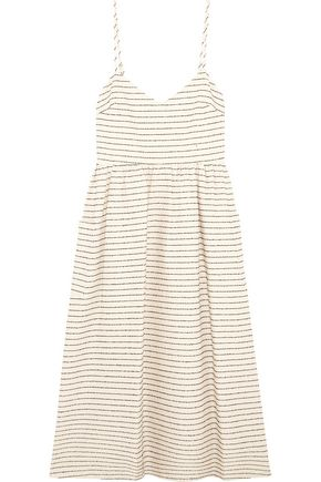 MARA HOFFMAN Striped basketweave cotton-blend midi dress