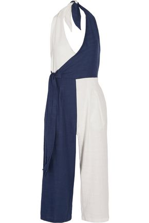 SOLID & STRIPED The Camille color-block cotton-blend voile halterneck jumpsuit