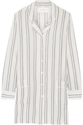 SOLID & STRIPED The Britt striped basketweave cotton shirt