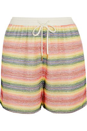 ASHISH Beaded silk-georgette shorts