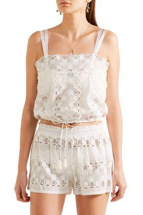 ... MIGUELINA Georgina scalloped cotton-lace top ...