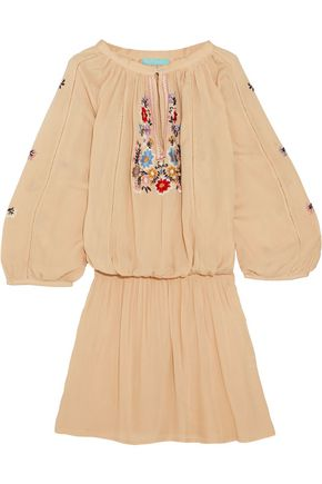 MELISSA ODABASH Gathered embroidered voile coverup