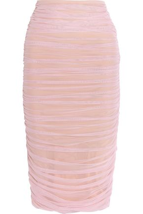 NORMA KAMALI Ruched stretch-tulle skirt