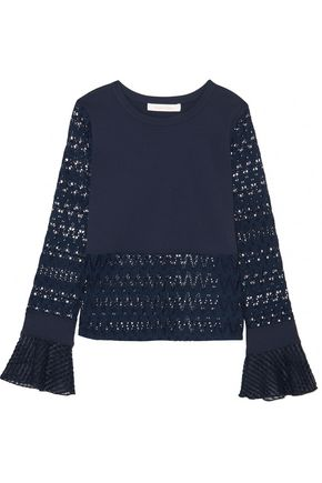 SEE BY CHLOÉ Embroidered tulle-trimmed stretch-jersey and open-knit top