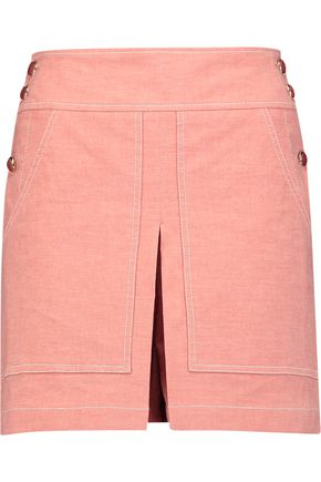 TEMPERLEY LONDON Lanai skirt-effect stretch cotton and linen-blend shorts