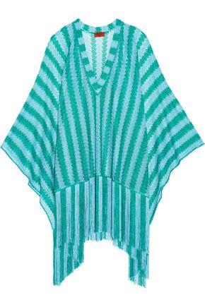 MISSONI Mare metallic fringed crochet-knit kaftan