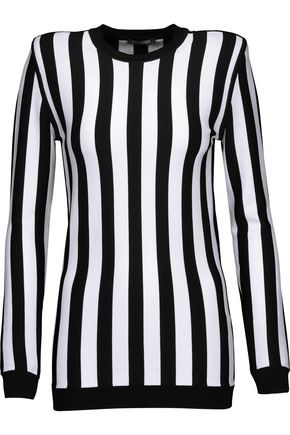 BALMAIN Striped stretch-satin top