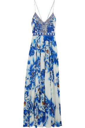 CAMILLA Crystal-embellished printed silk and crepe de chine maxi dress