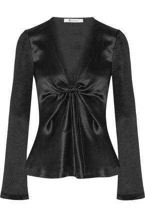 T by ALEXANDER WANG Hammered silk-satin blouse