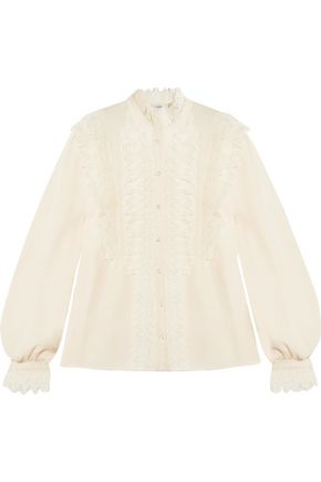 VILSHENKO Ramona ruffled lace-trimmed silk-georgette blouse