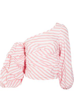 JOHANNA ORTIZ One-shoulder striped cotton-blend poplin wrap top