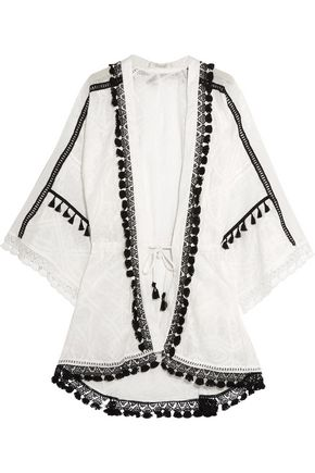 JONATHAN SIMKHAI Crochet-trimmed embroidered cotton-gauze robe