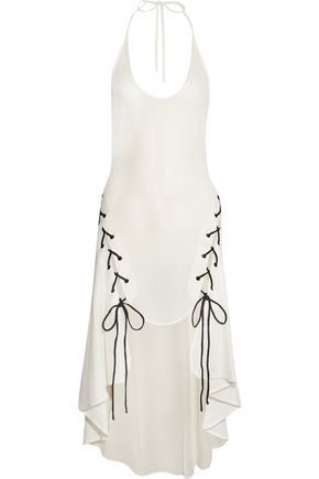JONATHAN SIMKHAI Lace-up woven halterneck dress